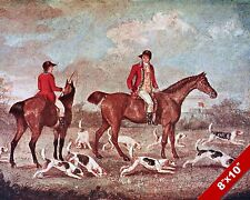 EAGER HOUNDS FOX HUNT HORSE FOXHUNTING HUNTING DOGS ART PAINTING CANVAS PRINT