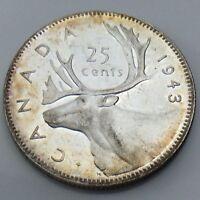 1943 Canada 25 Twenty-Five Cents Quarter Canadian Uncirculated UNC Coin G378