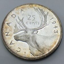 1943 Canada 25 Twenty-Five Cents Quarter Canadian Uncirculated UNC Coin G378