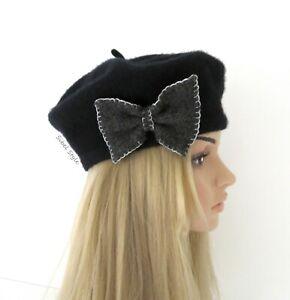 Béret laine nœud de papillon noir femme, bonnet hiver chapeau gavroche toque