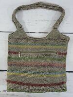 The SAK Multi Color Crochet Hobo Shoulder Purse Hand Bag VOYAGER STRIPE
