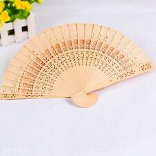 Hot Asian Chinese Flower Printing Vintage Retro Wood Hollow Out Hand Folding Fan