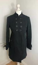 KAREN MILLEN Size 14 Black Military Coat Cotton Trench