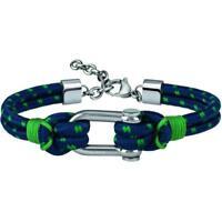 Bracciale Uomo BREIL WIRED TJ2607 Cordura Blu Verde Acciaio Colorato NEW