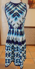 Felicity & Coco - Navy/Aqua Pattern Stretch Jersey Dress - Size 10-12
