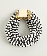 Lee Angel Black And White Beaded safina Multi-Strand Bracelet NWT $150