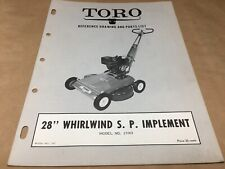 "toro 28"" whirlwind s.p  implement parts list,IPL ,antique toro tractor #317"