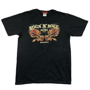 Hard Rock Cafe Barcelona Rock N Roll Double Dragon Tee T-shirt Size M