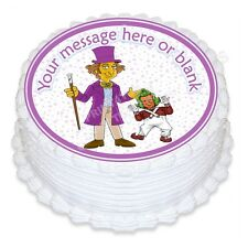 ND3 Willy Wonka Chocolate factory Birthday personalised round cake topper icing
