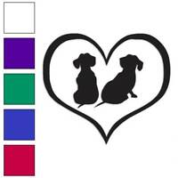 Love Dachshund Puppies Heart Decal Sticker Choose Color + Size #1448