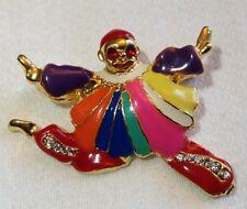 Vintage Dancing Clown Brooch Pin Enamel and Rhinestones 2 Inches Wide
