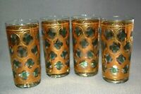 4PC Vintage Glass Gold Green Circle 12OZ Culver Like Glassware Tumblers