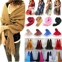 Womens Pashmina Winter Wool Long Shawl Scarf Wrap Fashion Scarves Stole Tassel