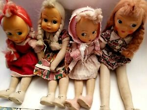 Vintage 1950s Polish Jointed Cloth Sawdust Doll Plastic Face Lot of 4