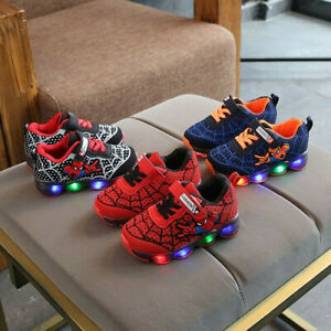 Kids Baby Girls Boys Cartoon Spider-Man Led Light Luminous Sport Sneakers Shoes