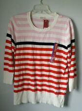 NWT Women's Striped Lightweight Sweater Top Size L 3/4 Sleeve White Pink Orange