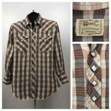 1950s Western Shirt / Early 50s H Bar C Shadow Plaid Button Up Shirt / Small