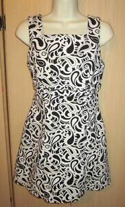 R-Wear Women's Junior Size 7 Black White Sleeveless Zip Down Dress