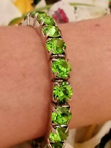 Peridot Tennis bracelet Green 8mm Gem white Gold plated Jewelry Present for wife
