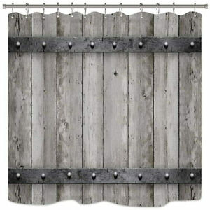 Rustic farmhouse wooden old-fashioned shower curtain fabric waterproof