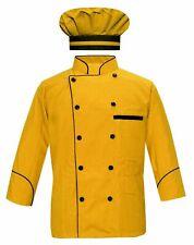 Men's Yellow Chef Coat Black Piping Chef Jacket/ Chef Coat with Cap