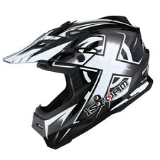 1Storm Adult Motocross Helmet Motorcross MX BMX Bike Racing Black White