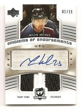 Milan Hejduk 2005-06 Upper Deck Cup Emblems of Endorsements Patch Auto 2/15
