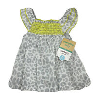 NWT Carter's Infant Baby Girl 6M Cheetah Leopard Animal Print Tank Top Smocked