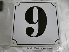 Hausnummer Mega Groß  Emaille Nr 9 schwarze Zahl weißer Hintergrund 20cmx20 cm