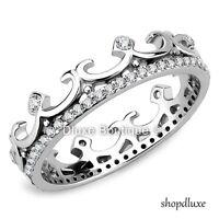 Women's CZ Stainless Steel Royalty Princess Crown Eternity Fashion Ring Sz 5-10
