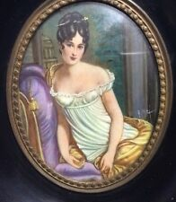 Antique Miniature Portrait of Madame Juliette Recamier (1777-1849) Artist Signed