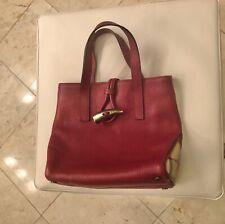 Authentic BURBERRY TOTE Handbag Burgundy