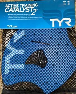 NEW TYR Actice Training CATALYST2 Hand PADDLES SIZE L Blue