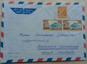 CYPRUS 1950s AIRMAIL COVER TOBELGIUM WITH REGISTERED POSTMARK BUT NOT REGISTERED