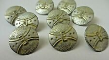"11//16/""  Antiqued MATTE SILVER YELLOW Belt Buckle Design Shank Back  Buttons 8"