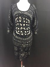 Desigual Womens Dress Black Cotton Poly U Neck Size Medium US 3/4 Sleeve MSRP159