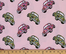 Love Bugs 1960's VW Beetles Cars on Pink Cotton Fabric Print by Yard D780.55
