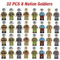 32 pcs WW II 8 National Soldiers Mini Figures Building Blocks Fit Lego Toys