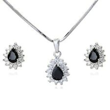 18K WHITE GOLD PLATED GENUINE BLACK CUBIC ZIRCONIA NECKLACE AND EARRING SET