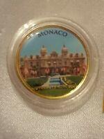 2 Euro Farbmünce  Monaco Casino  mit Gold 999/1000 veredelt in Farbe