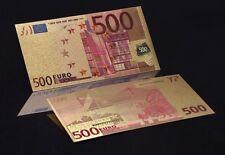 ORO 99,9% - Billete de 500 euros, acabado en color - GRAN CALIDAD PLANCHA