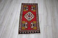 1.7x3.4ft Turkish Vintage Handmade Yastik Rug Small Size Doormat RedColor Carpet