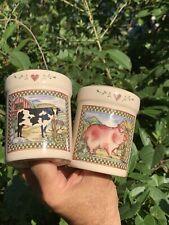Vintage BIG SALT & PEPPER SHAKERS Holstein Cow & Pink Pig Debbie Mumm ❤️sj4j