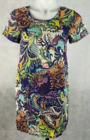 Valley Girl Women's Dress Size 8 Paisley Print Blue Short Sleeve Lined