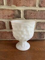 Large Vintage E. O. Brody Textured Milk Glass Pedestal Base Vase Planter Dish