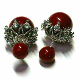 Sparkling Red Pearl Earring Stud Women Wedding Jewelry 14K White Gold Plated