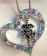 Silver Plated RN Nurse Caduceus Crystal Heart Necklace Nursing Graduation Gift