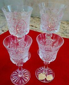 4 Czechoslovakia Bohemia Crystal Glasses - Liquor, wine glasses