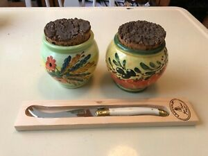 Made in Vallauris France Kitchen Ceramic Containers & Laguiole Cheese Knife