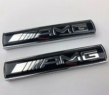 2 X MERCEDES AMG BLACK Side Wing Badge Emblem  C E A S SL SLK CLASS